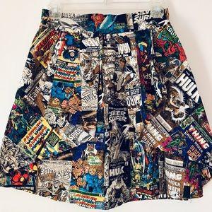Retro Marvel Superheros High-waisted Skirt - Small